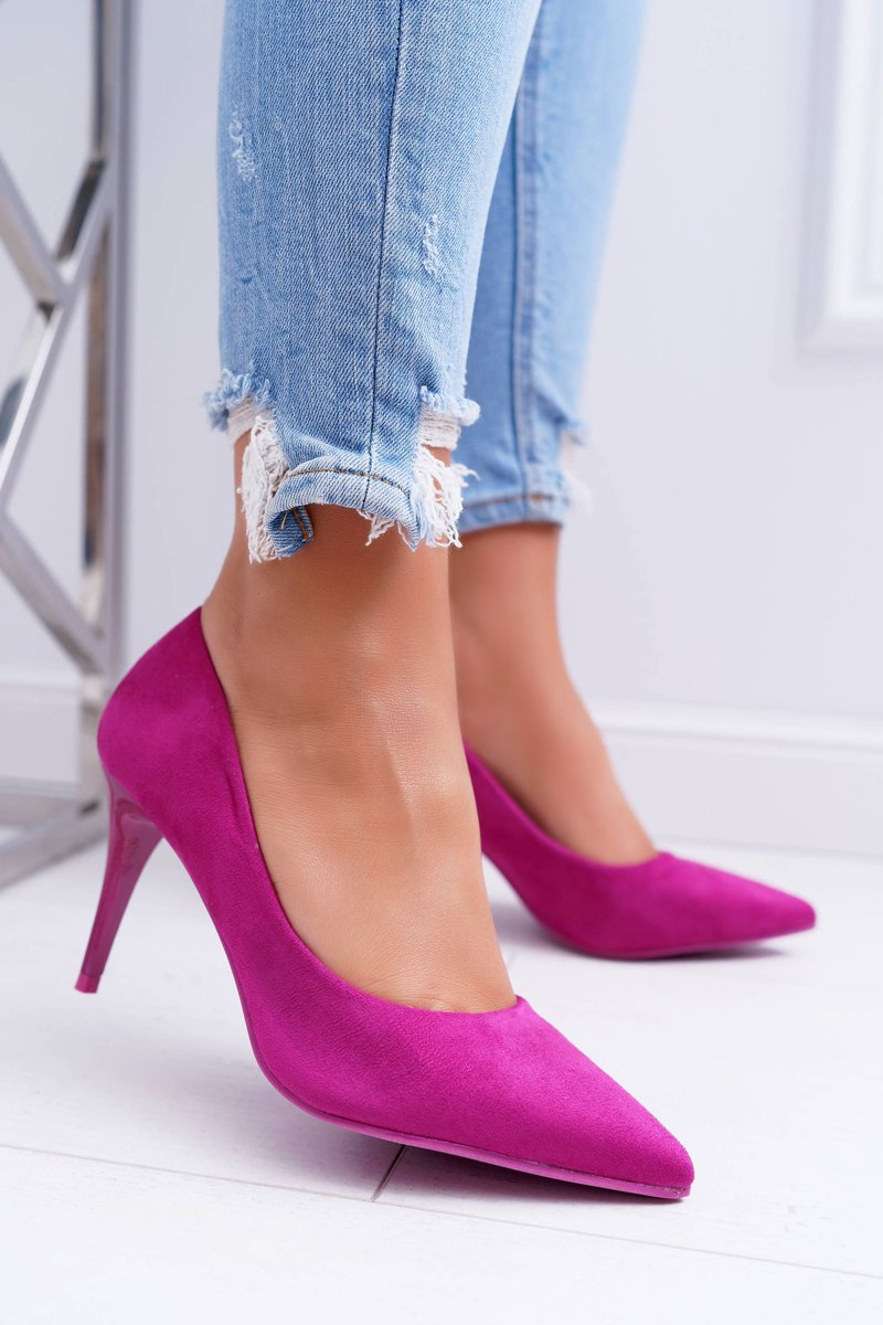 Women's Stilettos Suede Fuchsia Cream
