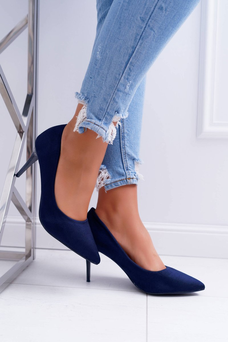 Women's Stilettos Suede Navy Blue Cream