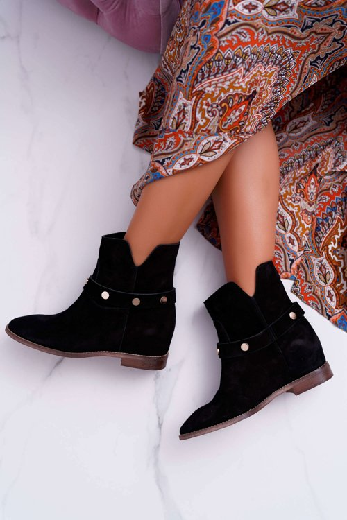Womens Boots On High Heel Laura Messi Leather Black 2056