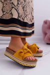 Classic Women's Slides With a Bow On The Platform Yellow Chantal