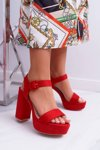 Women's Sandals On Heel And Platform Red LaMondes