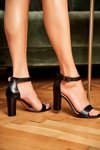 Women's Sandals On High Heel Laura Messi 1760 Grain Leather Black Iliady