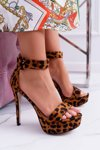 Women's Sandals On High Heel Platform Leopard Welbos
