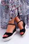 Women's Sandals On Wedge And Platform Suede Black Delima