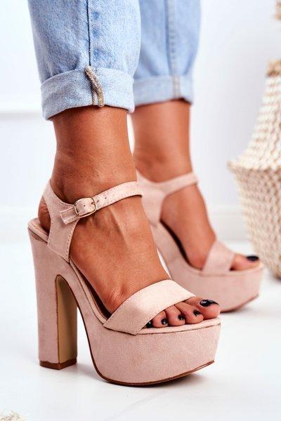 4bffd7d1ca1ec0 Wysokie Beżowe Sandały na Słupku Platforma HighShoes