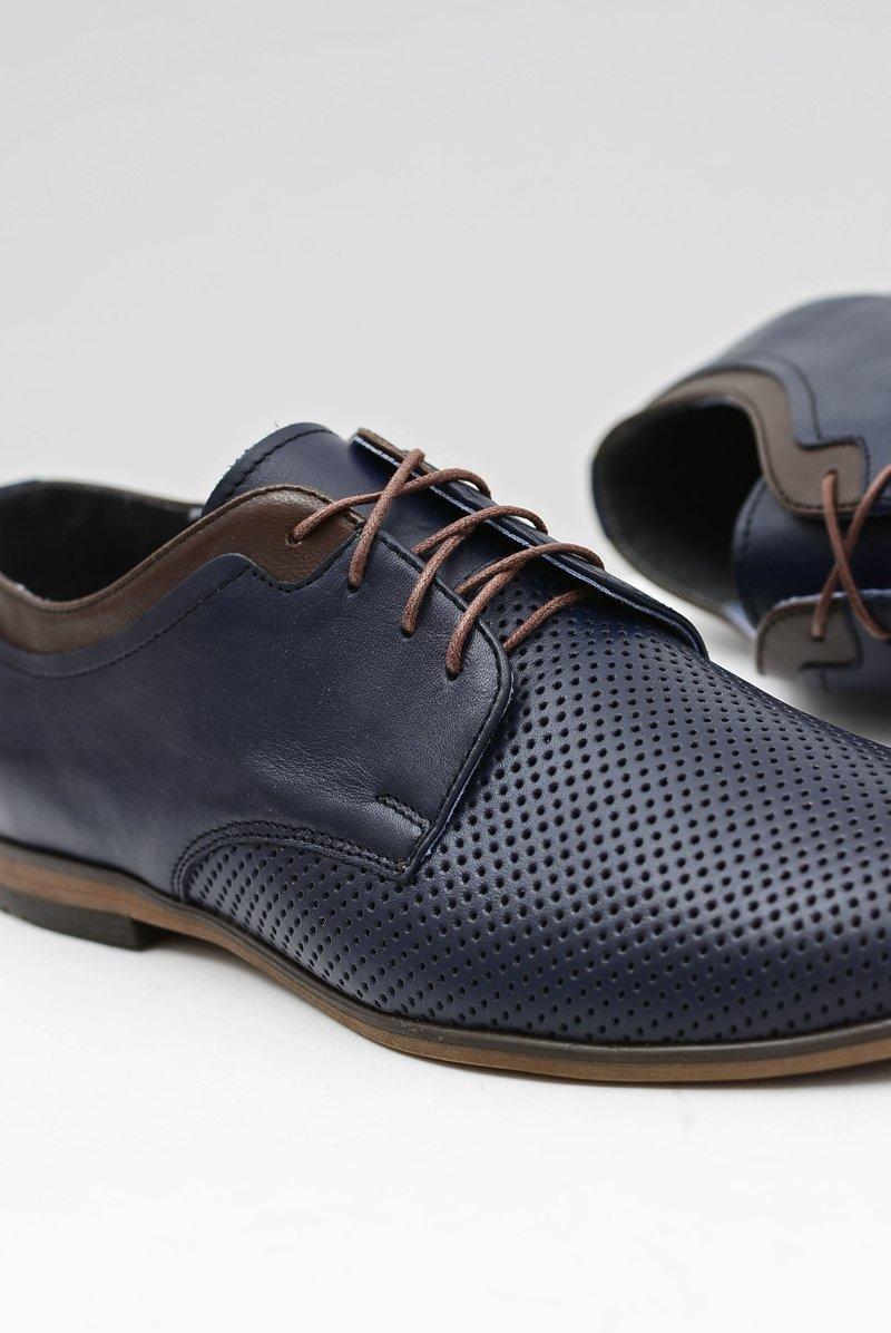 64ca35453a43e Ażurowe Męskie Skórzane Półbuty Ettore Granat   Tanie i modne buty ...