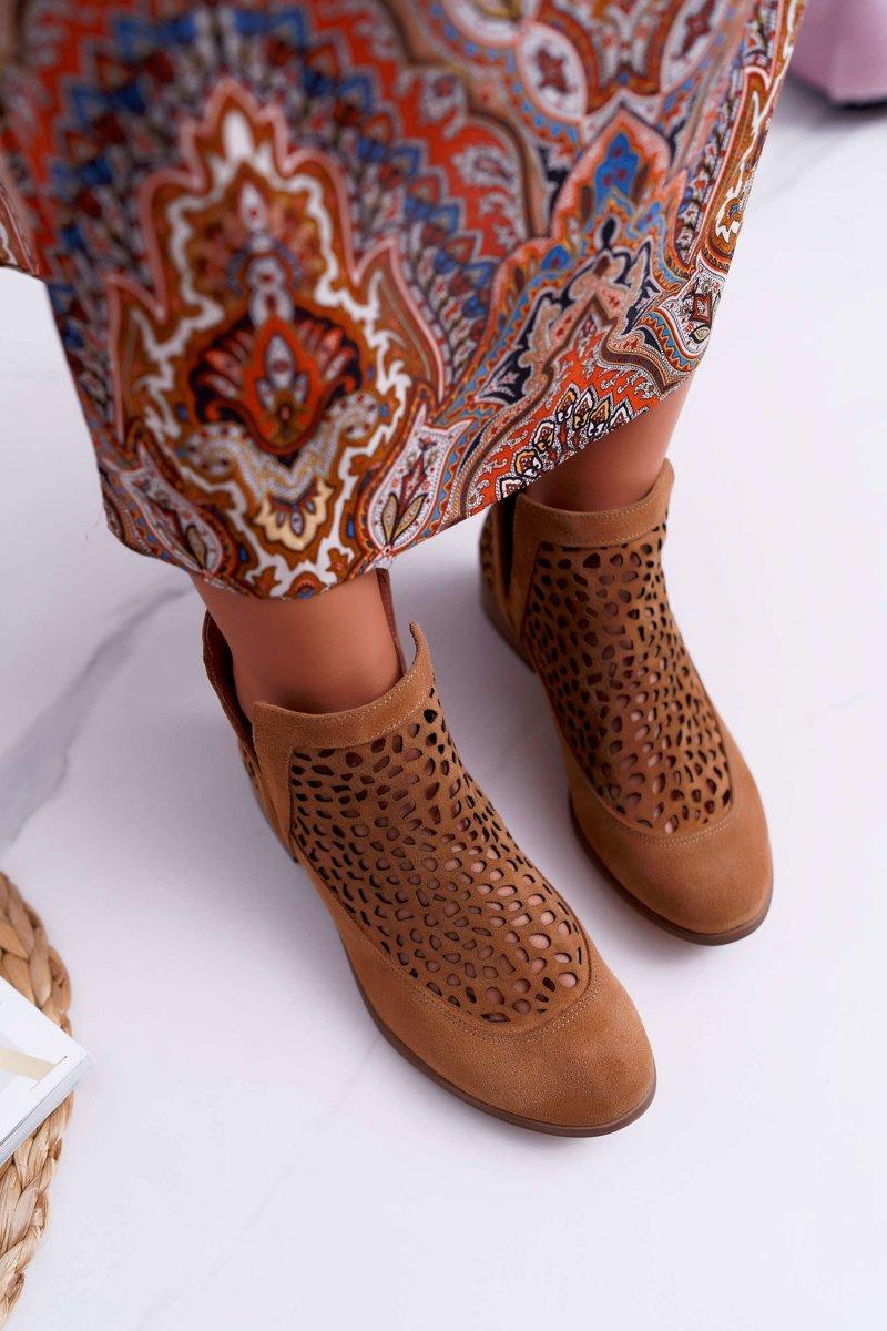693ba0da2213d3 Botki Damskie Wiosenne Kowbojki Camel 2366 Draw | Tanie i modne buty ...
