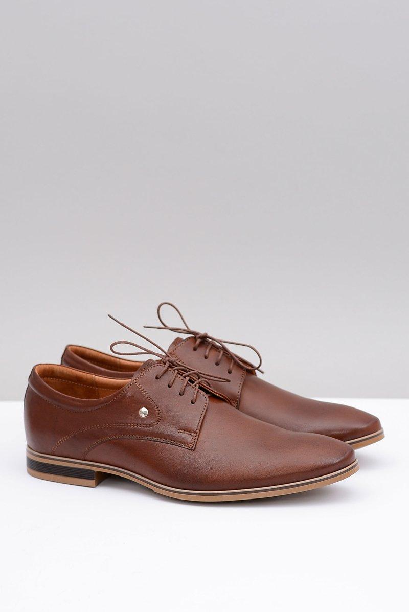 1d3c97dc08742 Brązowe Eleganckie Skórzane Półbuty Refugio   Tanie i modne buty ...