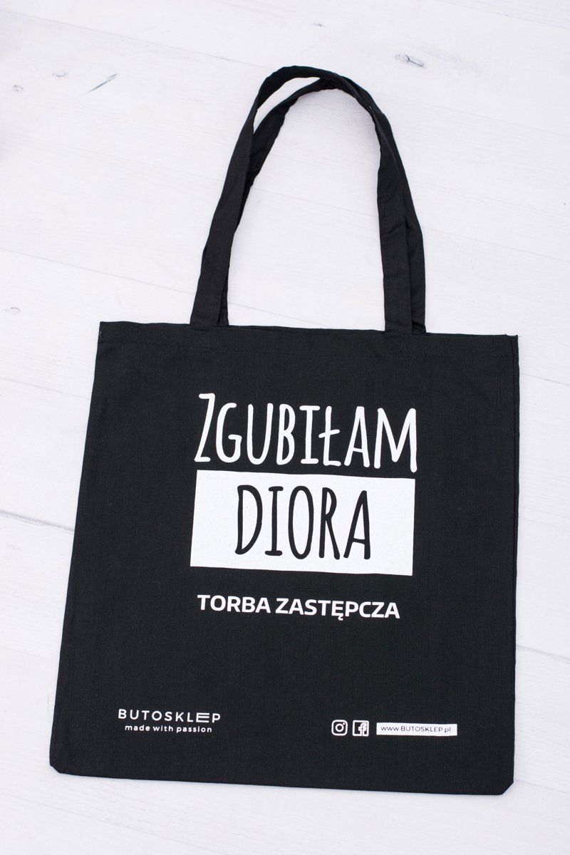 382d8eaa3f2aa Czarna Płócienna Torba Zgubiłam Diora ...