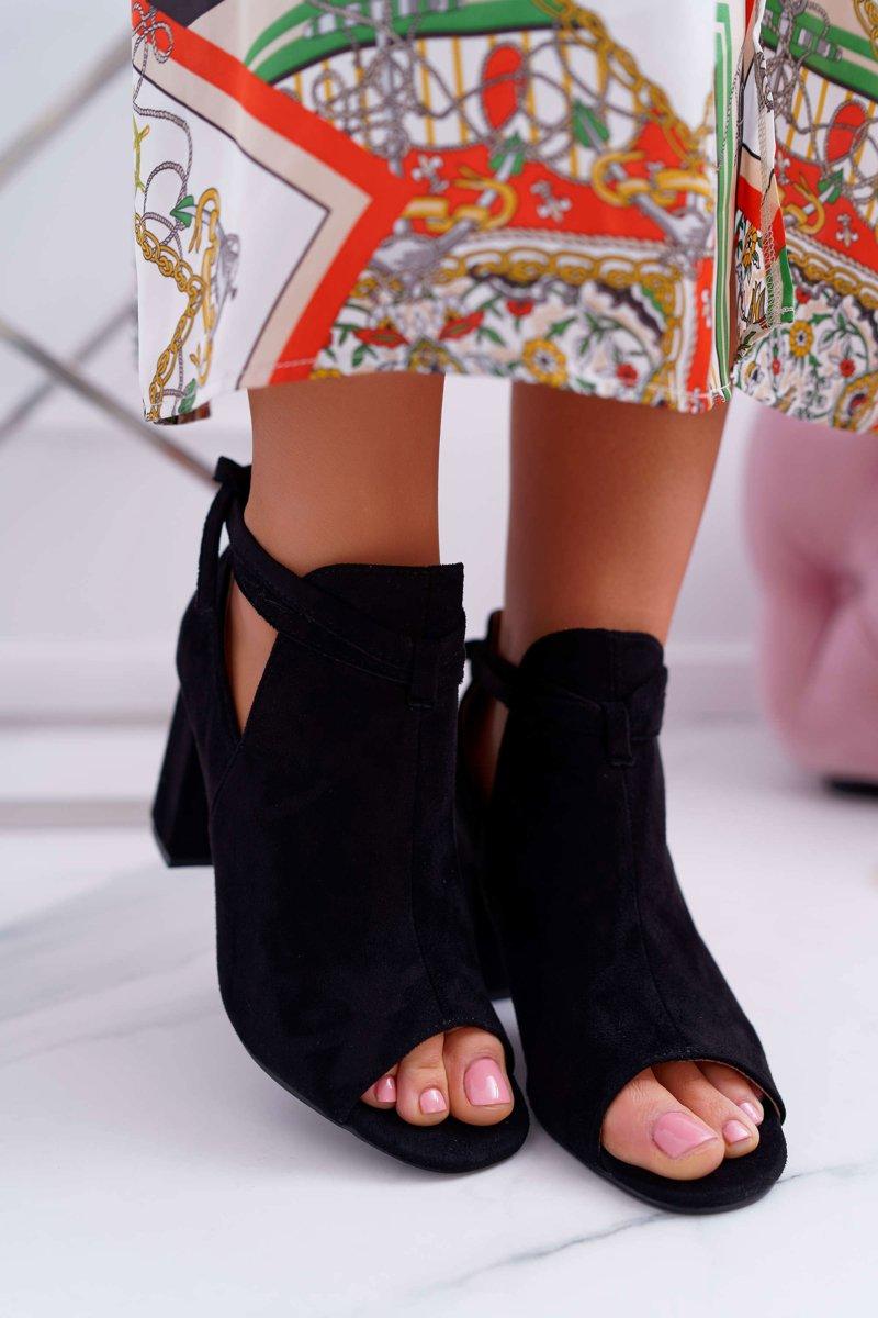 7dc1834e Czarne Botki Sandały Na Słupku Odkryte Palce Grays | Tanie i modne ...