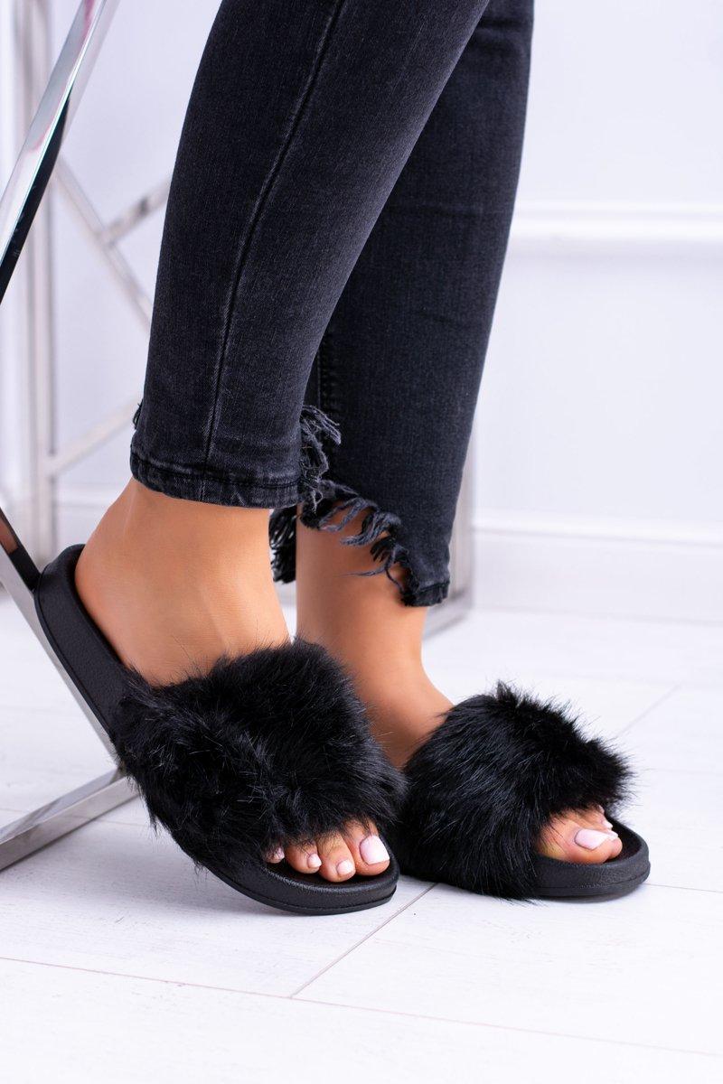 e0a529db62774 Klapki Damskie Z Futerkiem Czarne Fur | Tanie i modne buty online w ...