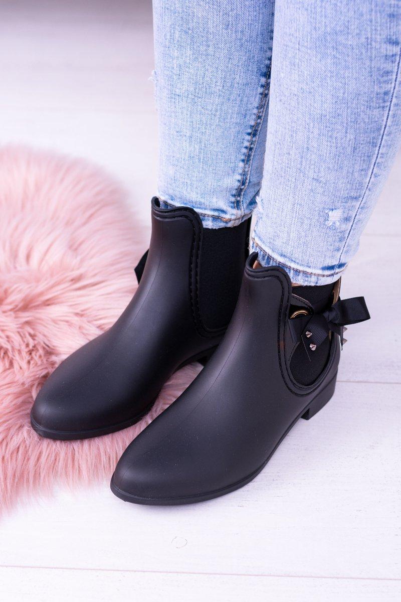 fc017a376e25b Czarne Matowe Damskie Kalosze Sztyblety Someday | Tanie i modne buty ...