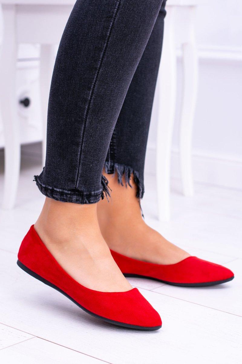 2876ace199ec3 Czerwone Damskie Balerinki Zamsz Dermeno | Tanie i modne buty online ...