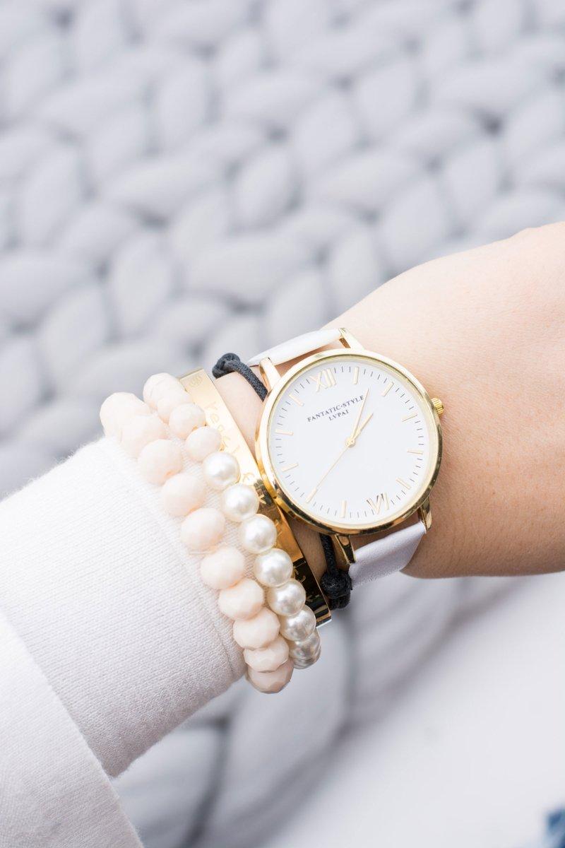 Poważne Damski Stylowy Klasyczny Biały Zegarek   Tanie i modne buty online XN98