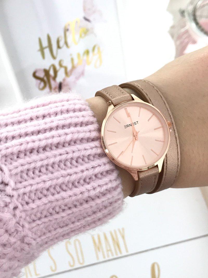 Najnowsze Damski Zegarek Ernest Jules Różowe Złoto | Tanie i modne buty JD72