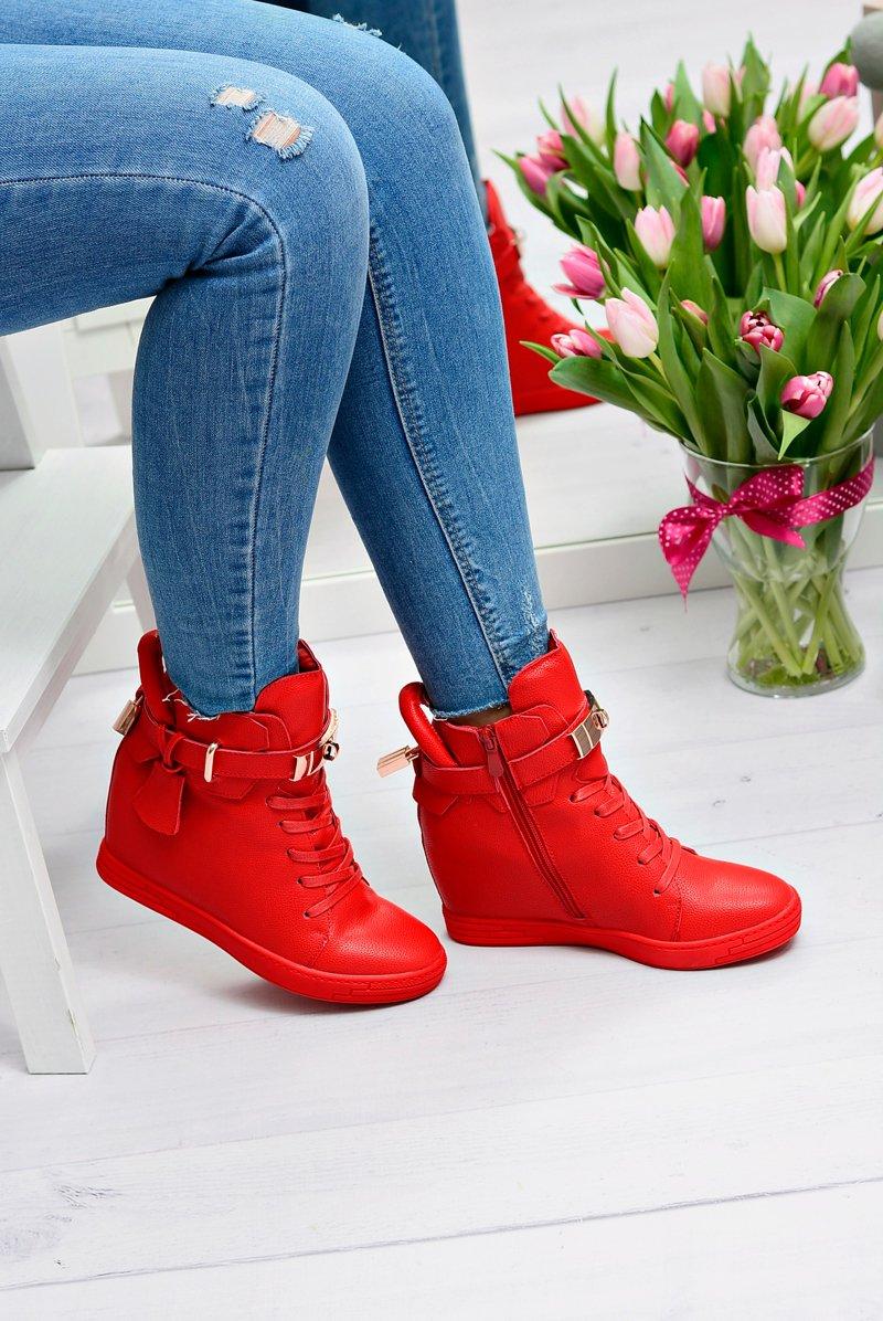 a311fd87cbc307 Damskie Czerwone Sneakersy Złota Kłódka Koturn Hudgens | Tanie i ...