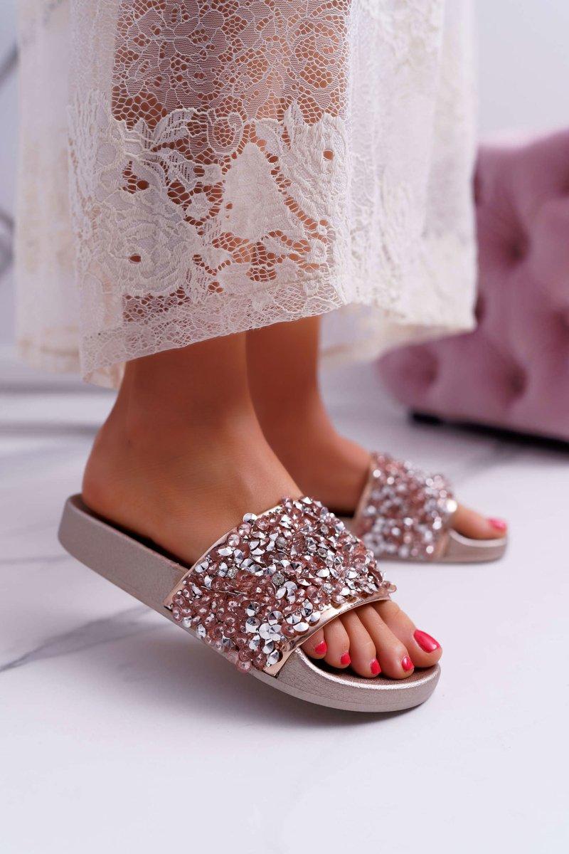 e80968a2ccc2f Damskie Klapki Różowe Złoto Glamour | Tanie i modne buty online w ...