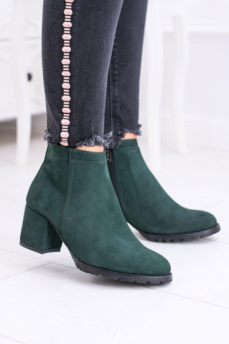 599e4dda452bd Damskie Zielone Skórzane Botki Na Słupku Nicole | Tanie i modne buty ...