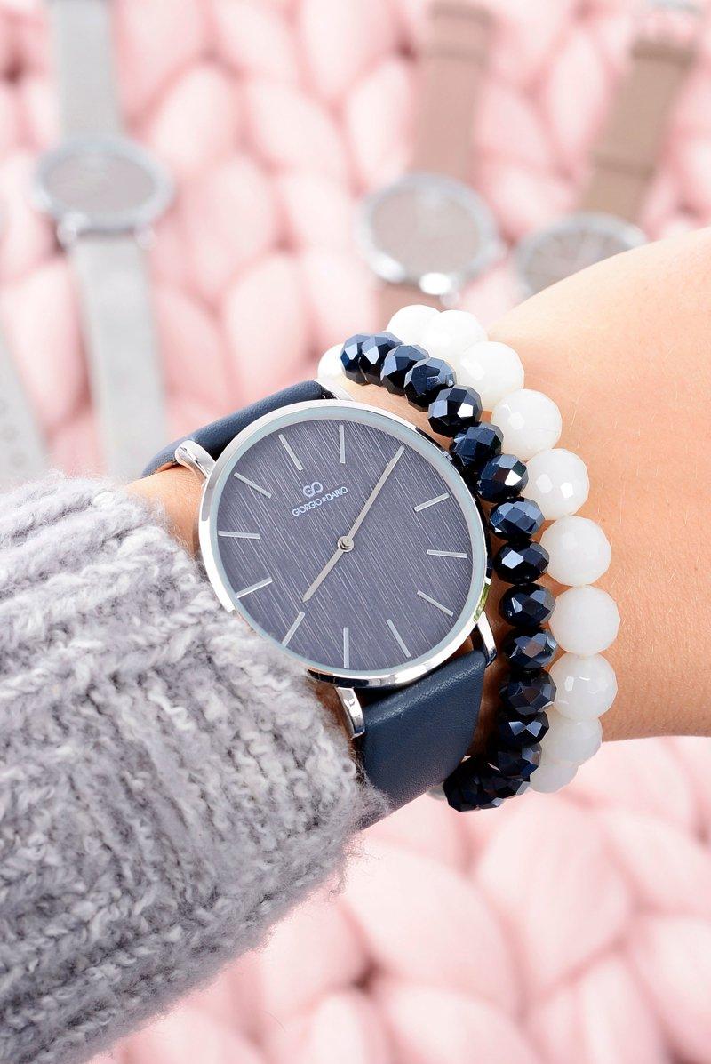 Niesamowite Granatowy Stylowy Skórzany Damski Zegarek Giorgio&Dario | Tanie i FI47