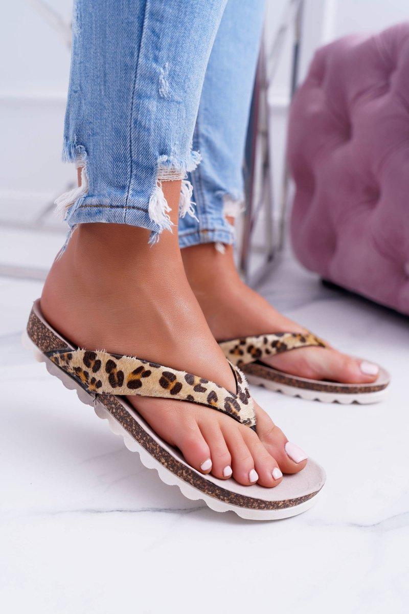 5d38d8c7e1b40 Lu Boo Korkowe Japonki Klapki na Lato Leopard   Tanie i modne buty ...