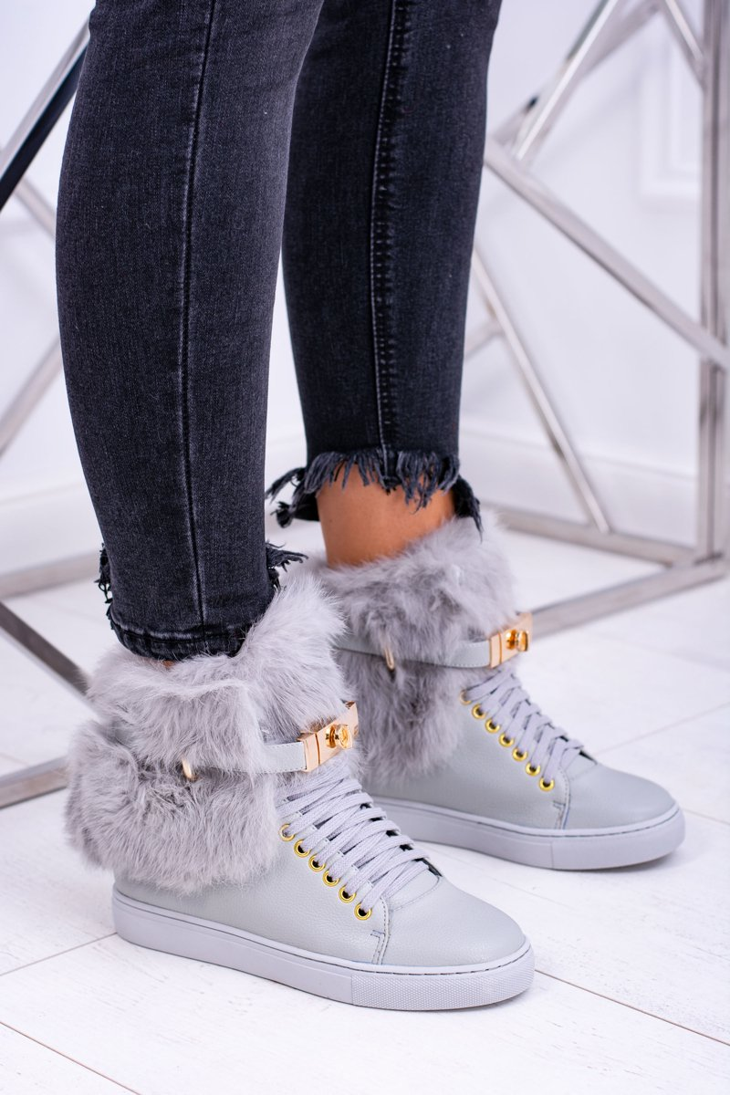 9b692ecbd32e2 Lu Boo Szare Botki z Naturalnym Futrem Gisele | Tanie i modne buty ...