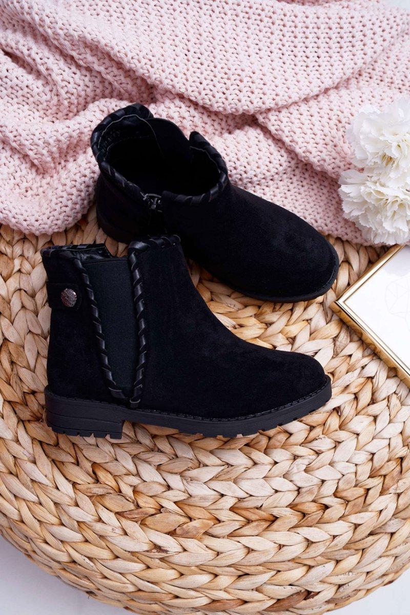 buty czarne botki mlodziezowe