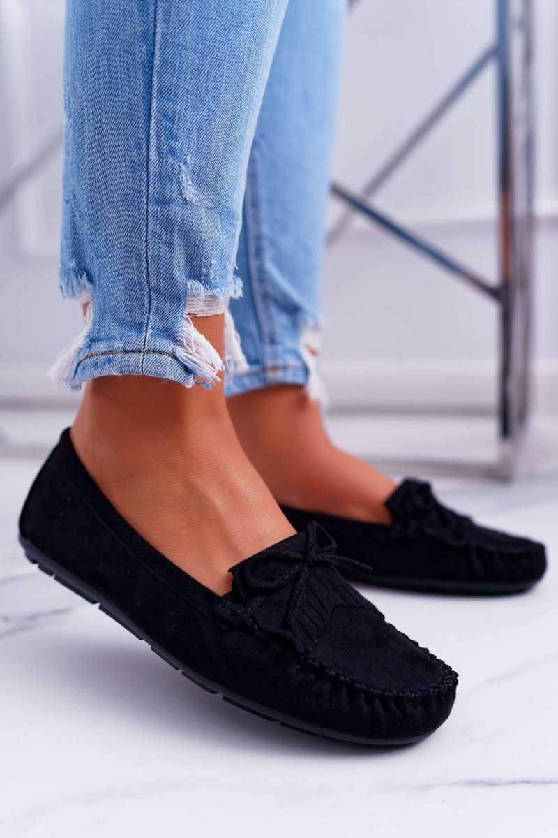 479349b5b6535 Mokasyny Damskie Zamszowe Czarne Espanto | Tanie i modne buty online ...