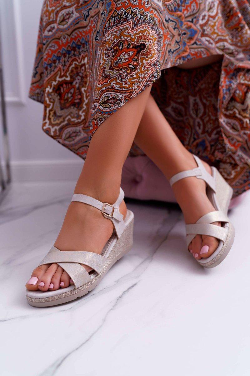 Sandały Damskie Na Koturnie Eleganckie Beżowe Midney