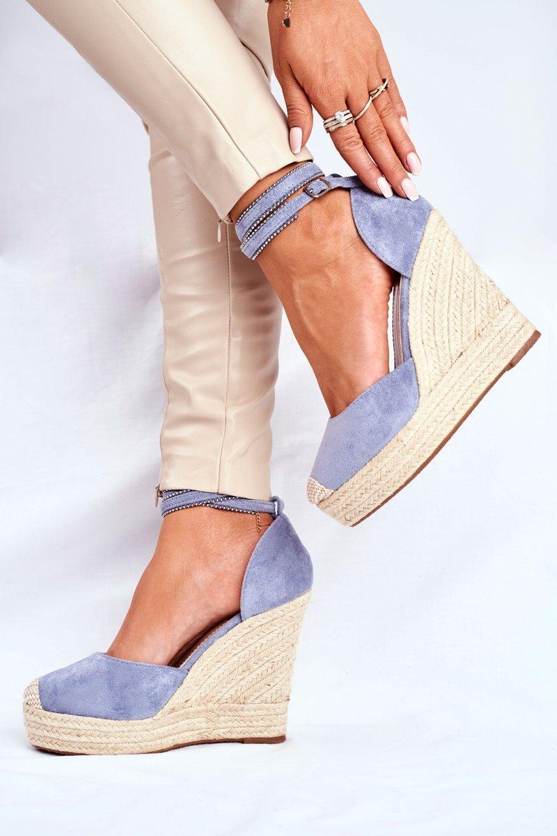 Sandały Damskie Na Koturnie Lniane Niebieskie Canterola