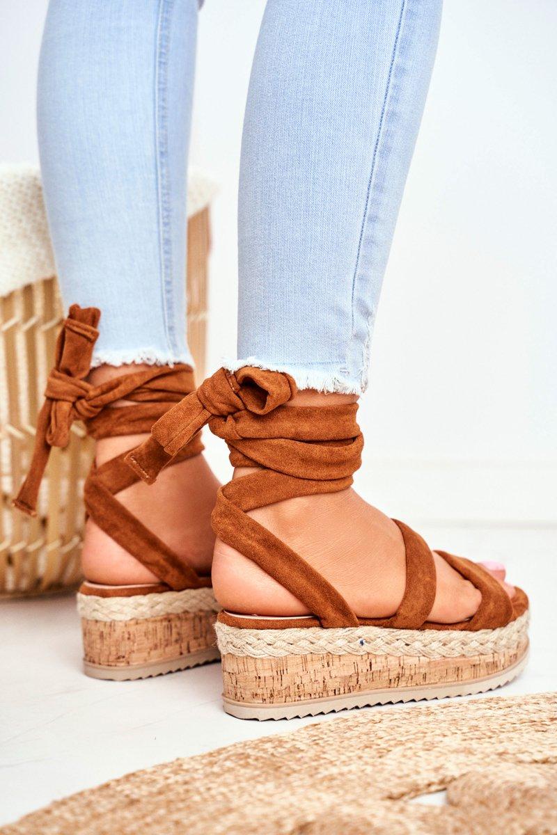 Sandały Damskie Na Platformie Wiązane Camel La Favorite
