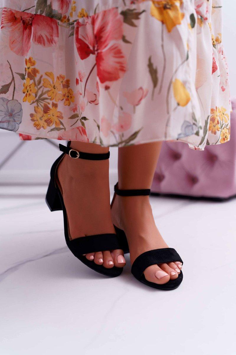 Sandały Damskie Na Słupku Czarne Zephira