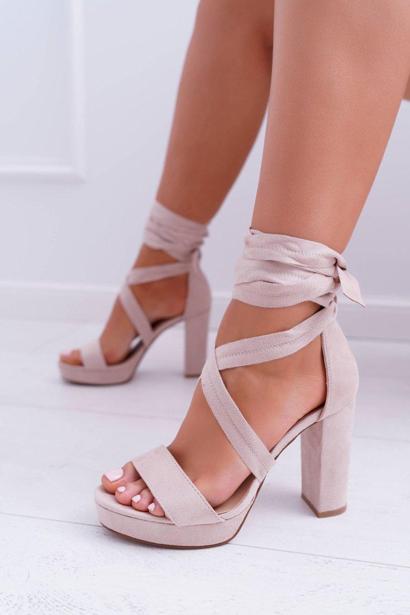 Sandały Damskie Na Słupku Platforma Wiązane Beżowe LaFiesta