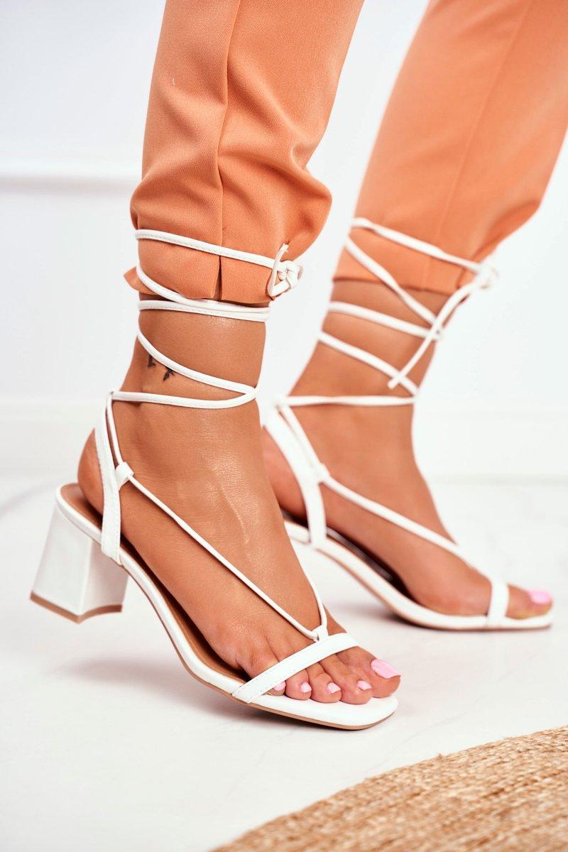 Sandały Damskie Na Słupku Wiązane Białe Morning