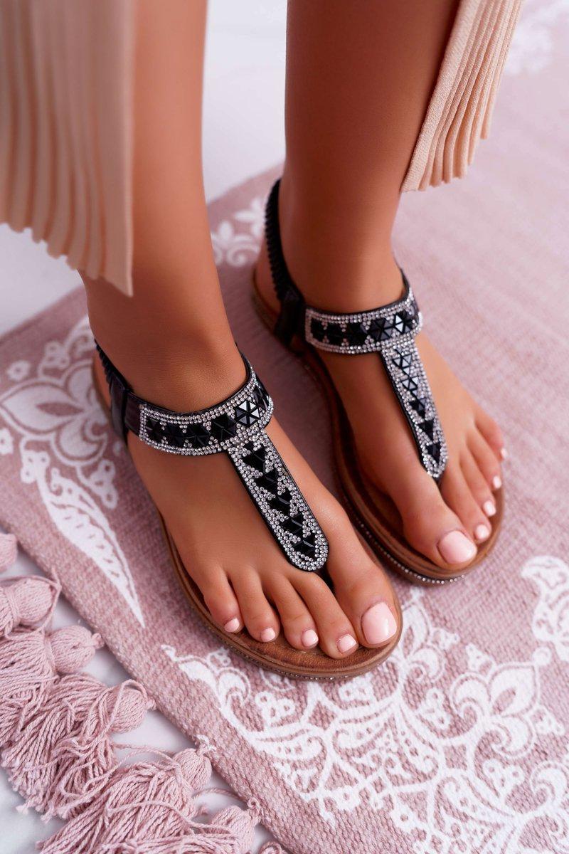 Sandały Damskie Płaskie Wsuwane Z Cyrkoniami Czarne