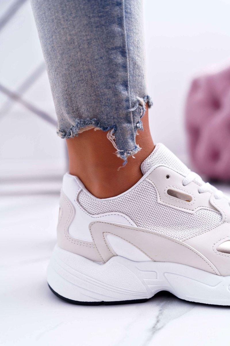 Sportowe Damskie Buty Białe Beżowe Szantal