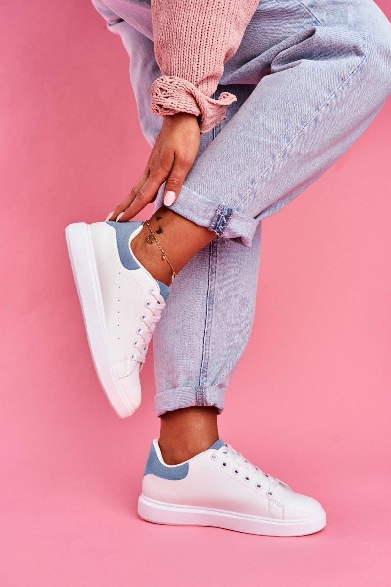 Sportowe Damskie Buty Białe z Niebieskim Zapiętkiem Milly