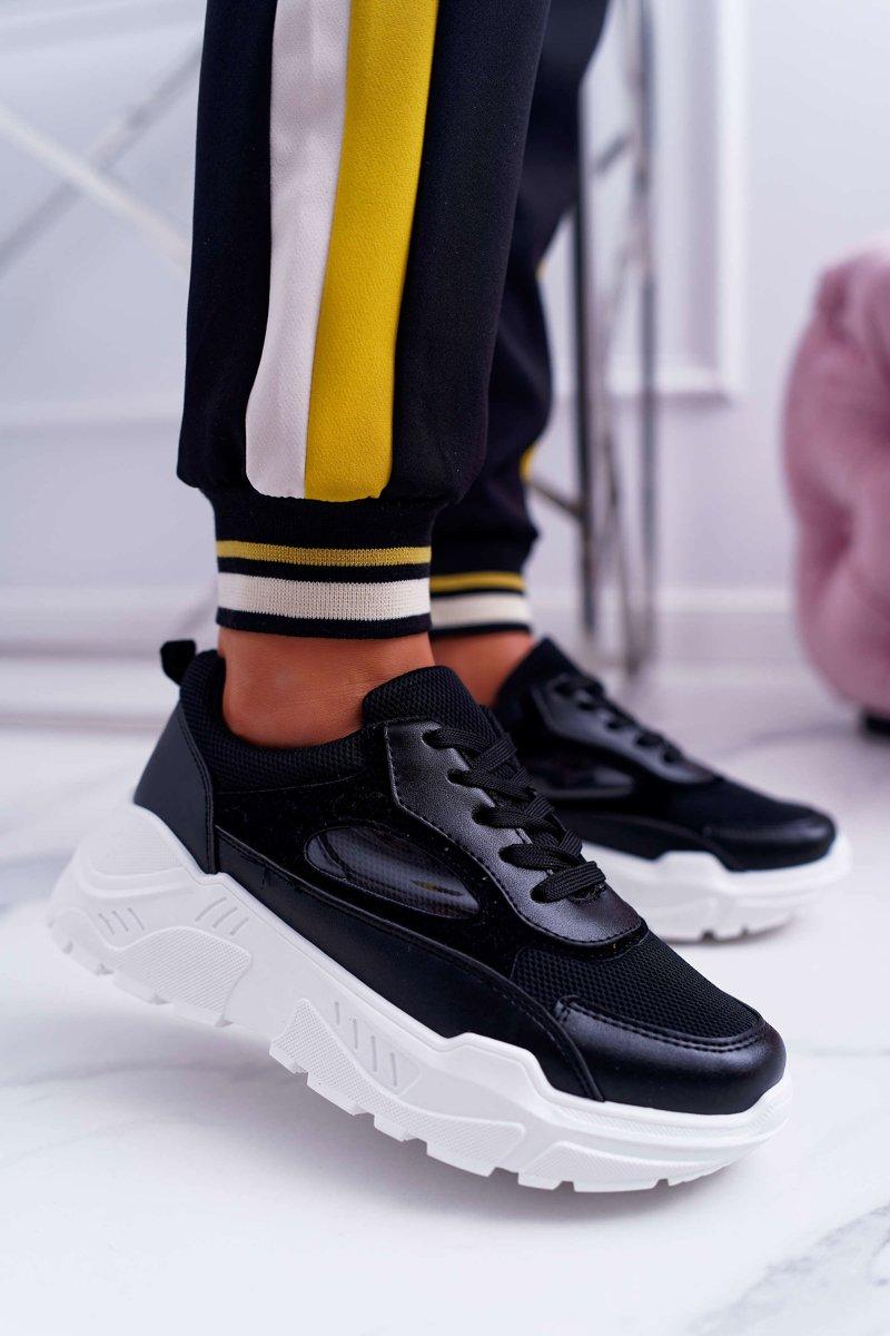 buty damskie denim na grubej podeszwie czarne
