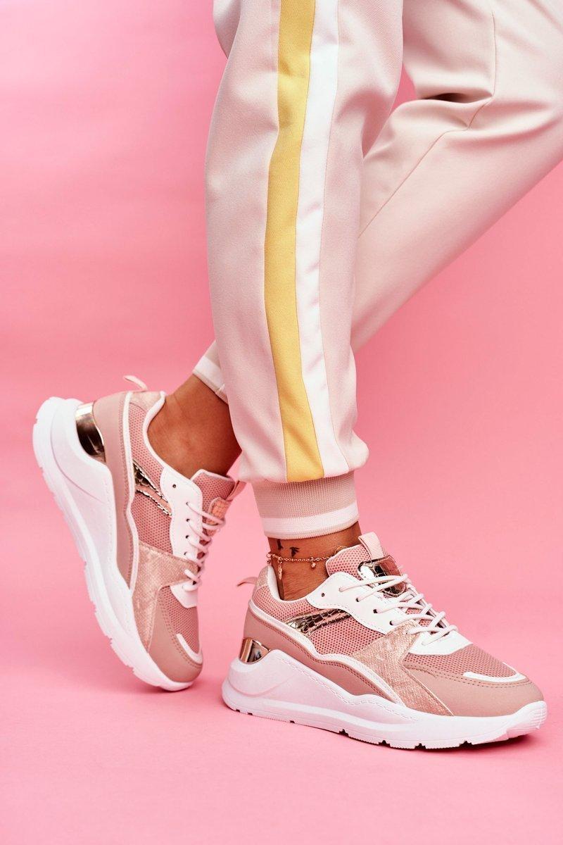 Sportowe Damskie Buty Sneakersy Biało Różowe Martina