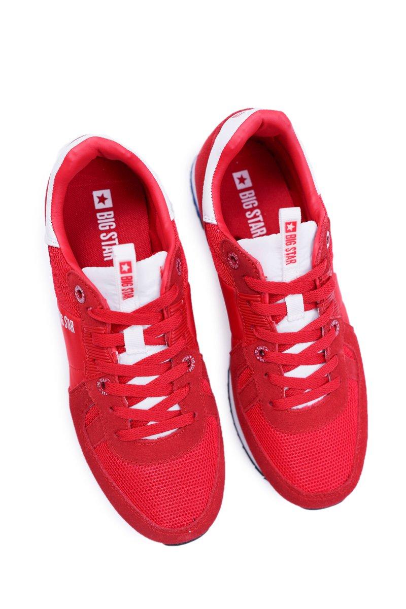 Sportowe Męskie Buty Big Star Skóra Zamszowa Czerwone DD174322