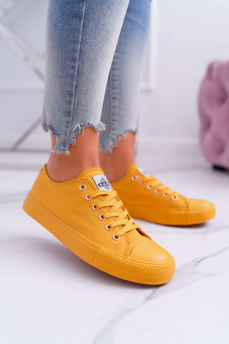 7777c9f62ed19 Trampki Damskie Niskie Materiałowe Żółte Ecoma | Tanie i modne buty ...