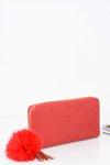 62584af08e477 Duży Damski Czerwony Portfel Złoty Zamek Brelok Futerko